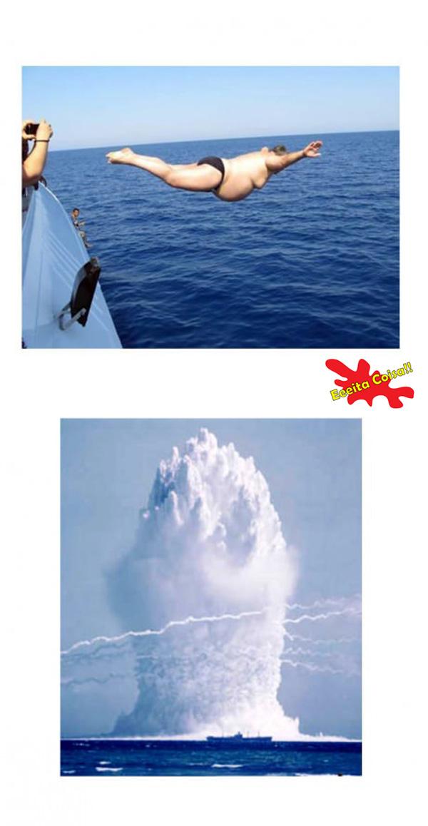 mar, mergulho, explosao, nuclear, eeeita coisa