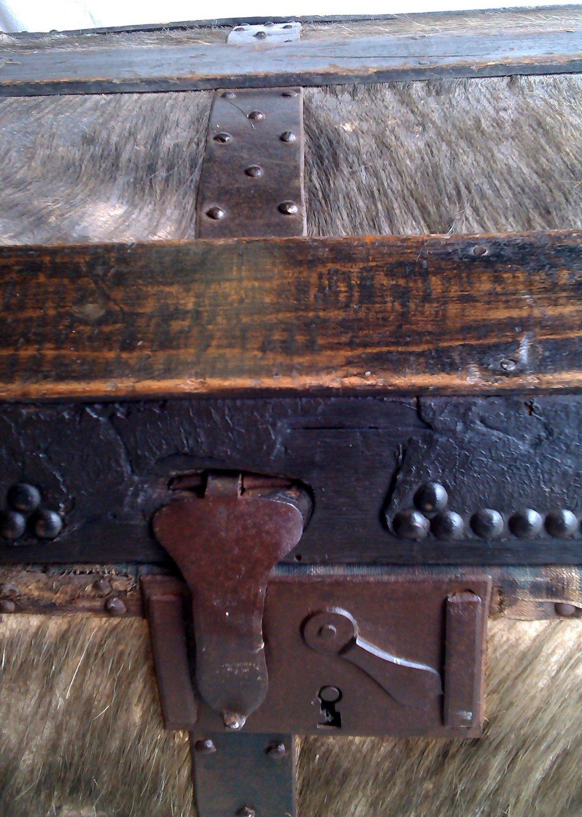 mark chapman antiquites malle en peau de sanglier malle en cuir blanc. Black Bedroom Furniture Sets. Home Design Ideas