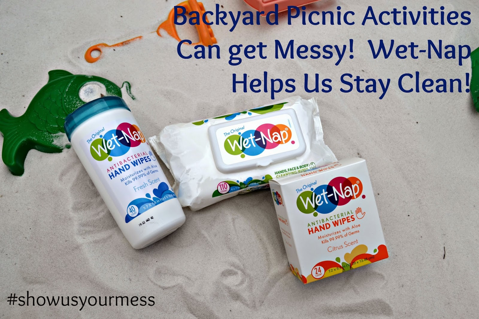 Backyard Picnic Activities with Wet-Nap  #ShowUsYourMess #PMedia #ad.  Wet-Nap Antibacterial Hand Wipes.