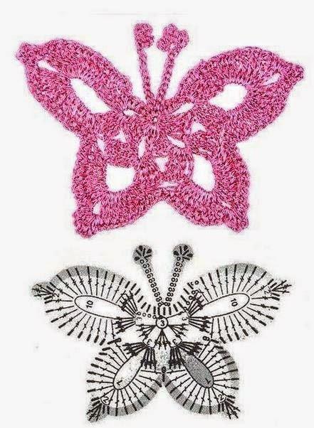 Esquema de mariposa crochet
