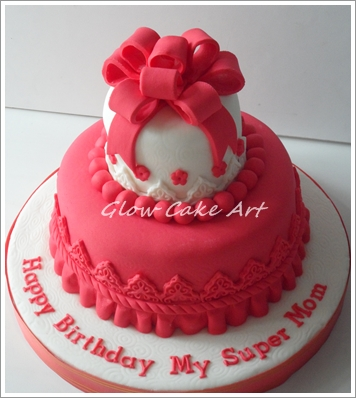 Super Mom Red Birthday Cake