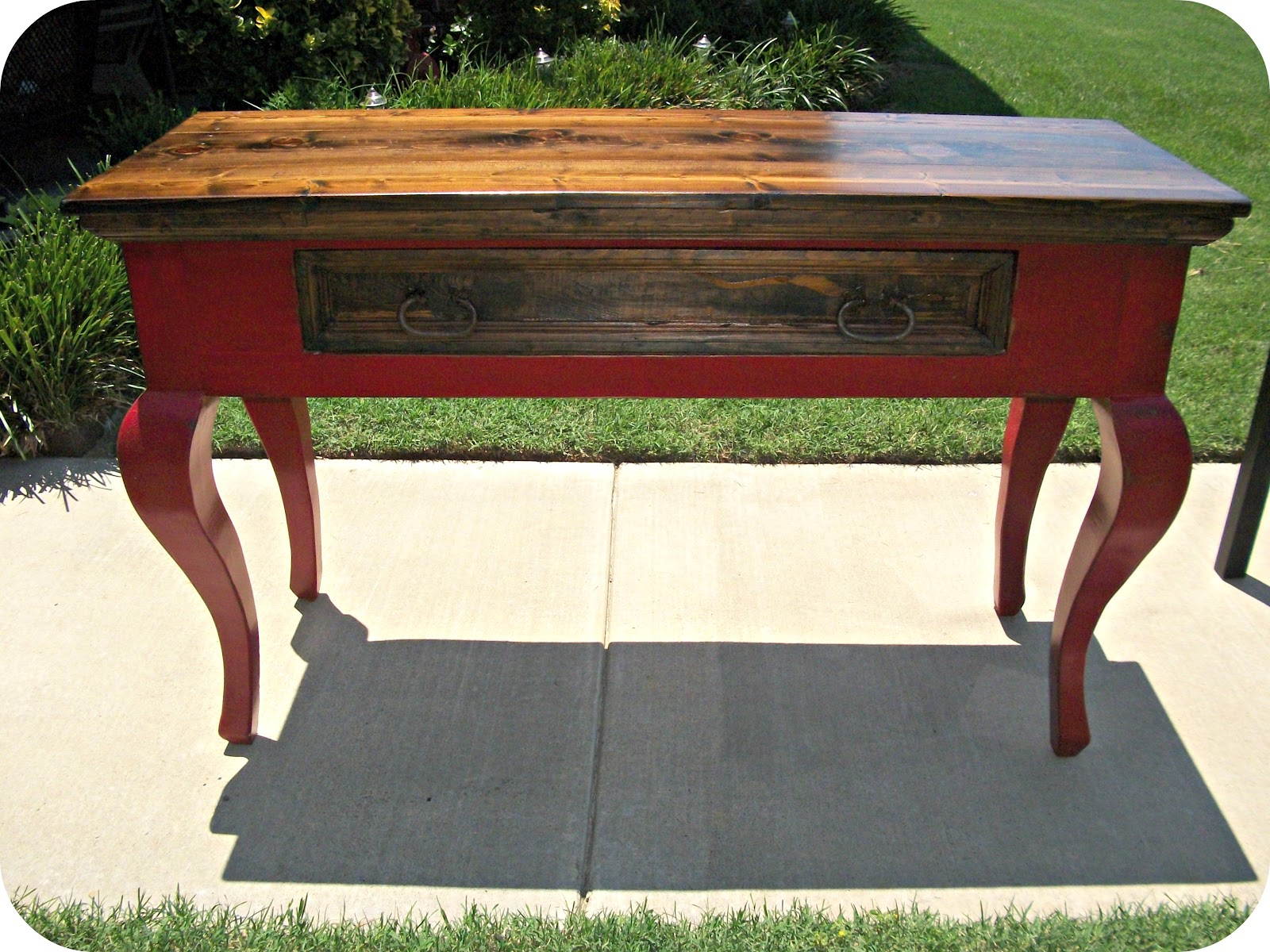Three mango seeds rustic sofa table makeover for Sofa table makeover
