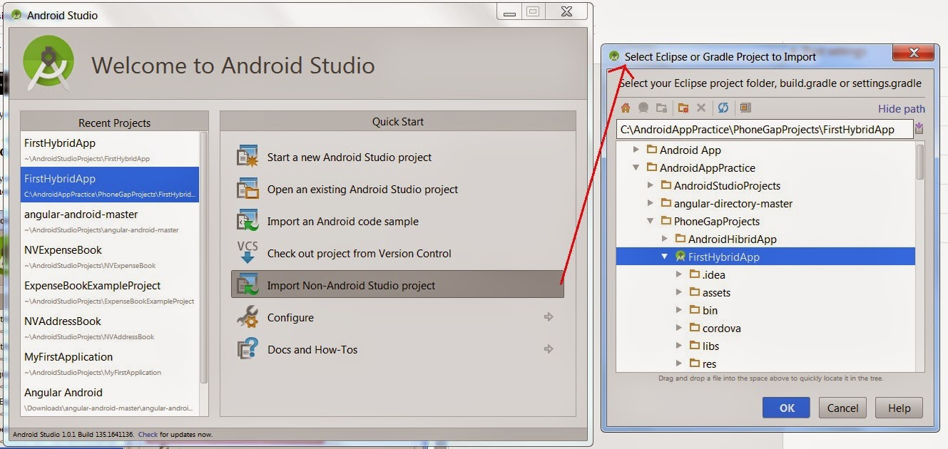 Tech blog narendra verma hybrid app development android now you need to import project into android studio open android studio and select the option import non android studio project to import your created ccuart Images