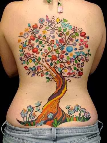 The magic tree of life back colorful tattoo.