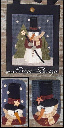 Stovepipe Snowman Wool Applique Collection includes Tote Bag, Smart Phone & Eyeglass Case