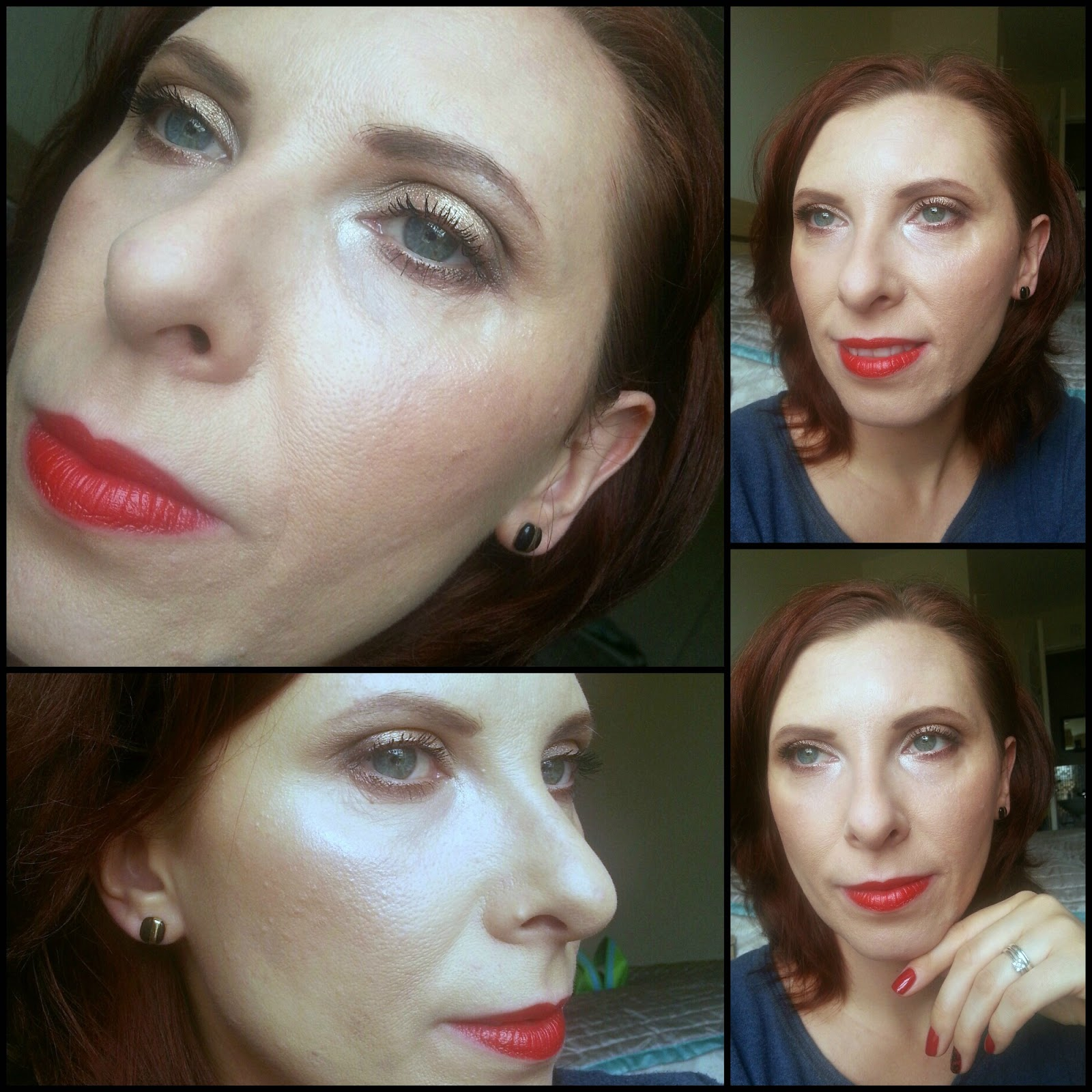 make up: bronzed eyes and red lips