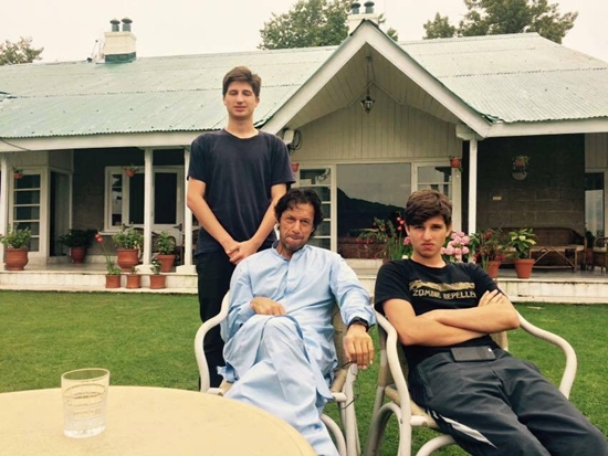 Imran Khan with his sons Qasim and Sulaiman