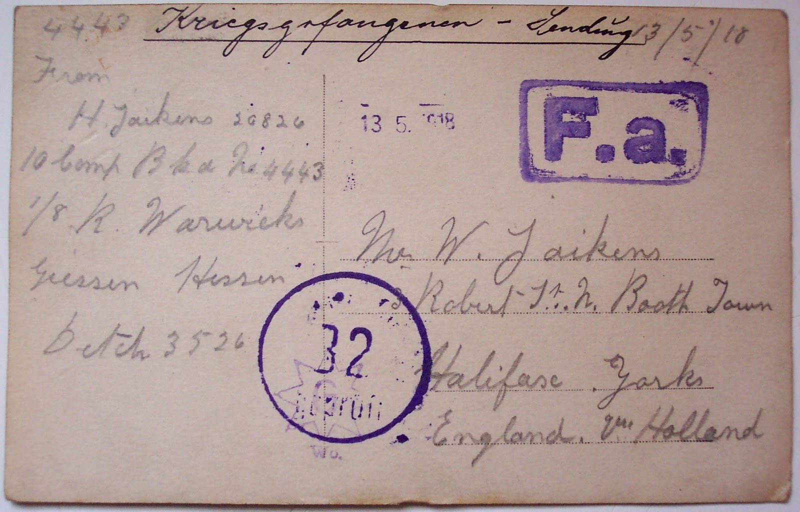 POW card from Horace Jaikens to a relative in 1918.  (Photo copyright Martyn Smith)  (Used with permission)