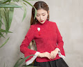 2018 3-Color Long Trumpet Sleeve Cheongsam Top