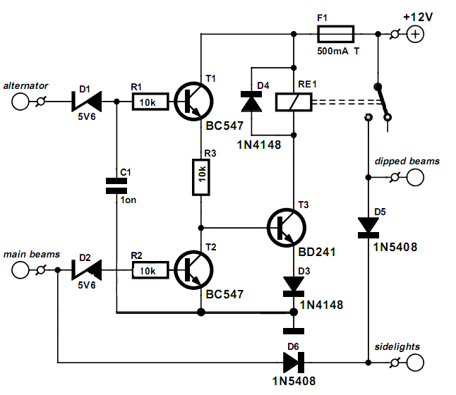 Easy Make a Lights On! Schematic | Circuits-Projects