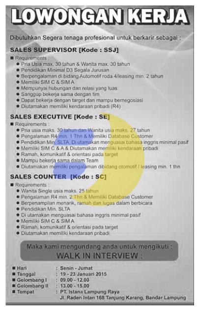 Lowongan Kerja Lampung, Bursa Kerja dan Karir Lampung di perusahaan Terbesar yang ada di lampung PT. Istana Lampung Raya, lowongan Terpopuler Januari 2014
