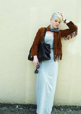fleur d'elise, blonde, short hair, pixie cut, boho, leather, maxi dress
