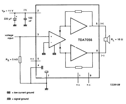 electronic parts and schematic diagram  3w btl mono audio