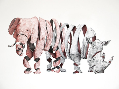 04-Elephant-and-Rhino-Jaume-Montserrat-Illustrations-of-Ribbon-Animals-in-Emptyland-www-designstack-co
