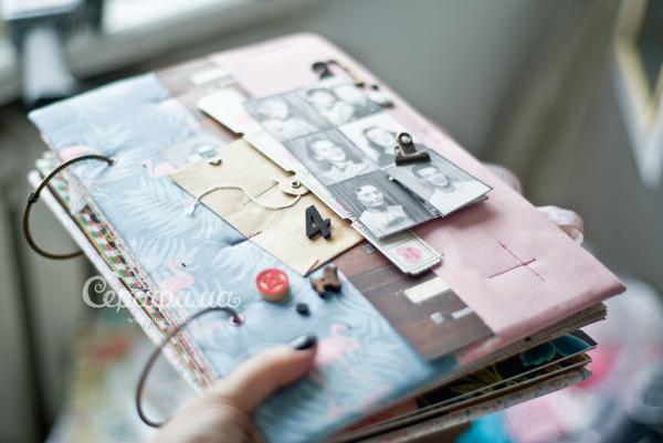 скрапбукинг альбом ручной работы, оформление фотографий