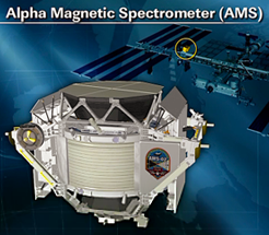 Alpha Magnetic Spectrometre and its location when installed onto the ISS. NASA 2011.