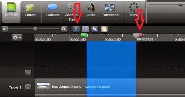 proses memotong video dari timeline menggunakan camtasia