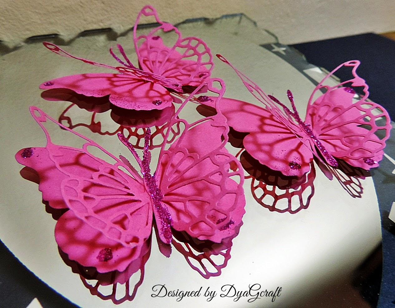 fluturi handmade fucsia Darla butterfly