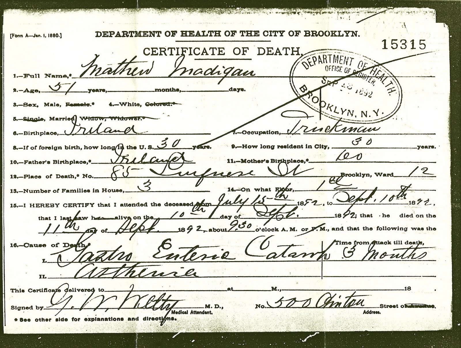 You Are Where You Came From: Mathew Madigan\'s Death Certificate - 11 ...