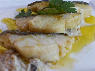 Todos la mesa bacalao confitado en salsa de setas - Cocinar bacalao congelado ...
