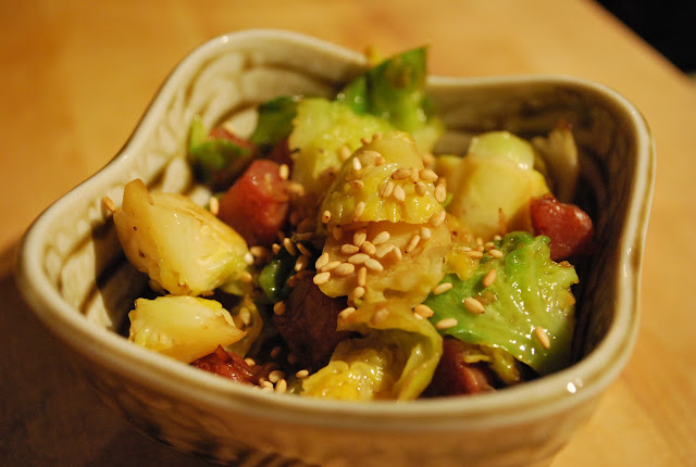 Kūlia cooks!: Brussel Sprouts with Chinese Lap Cheong ...