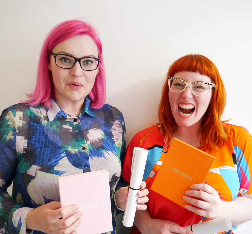 Scarf School, Scarf School Graduation, Edinburgh, Hill Street Design House, Karen Mabon, Scarf Design, Scottish Bloggers, blogging duo, pink hair, red head, ginger, girls with glasses