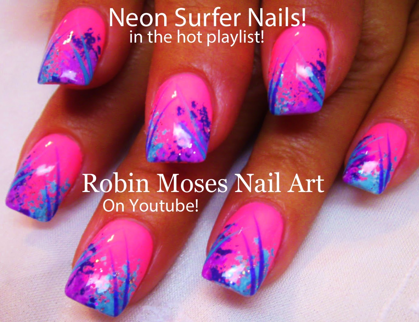Neon Nails Pink Nail Art Sponge Surfer Summer Easy Designs Diy