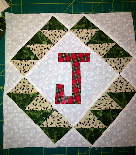 quilit block with the letter J