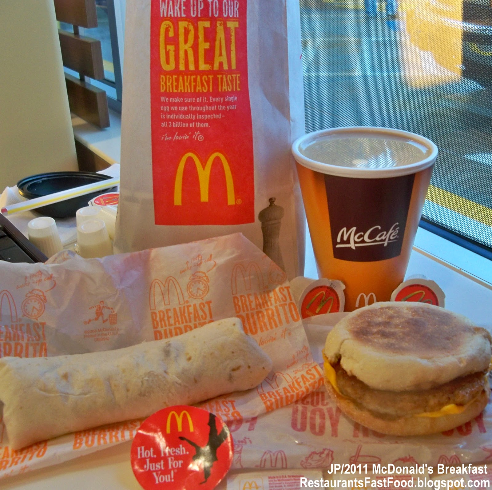 Mcdonald S Breakfast Burrito Sausage Cheese In Mccafe Coffee Fast Food Hamburger Restaurant Morning Menu Items