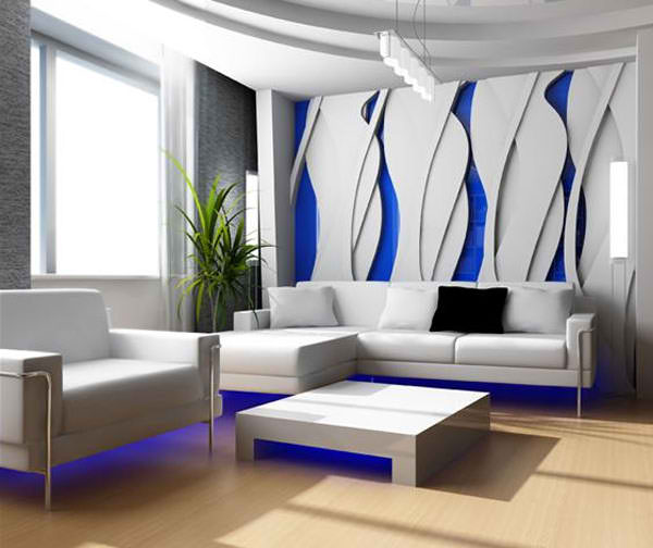 dark blue and white living room