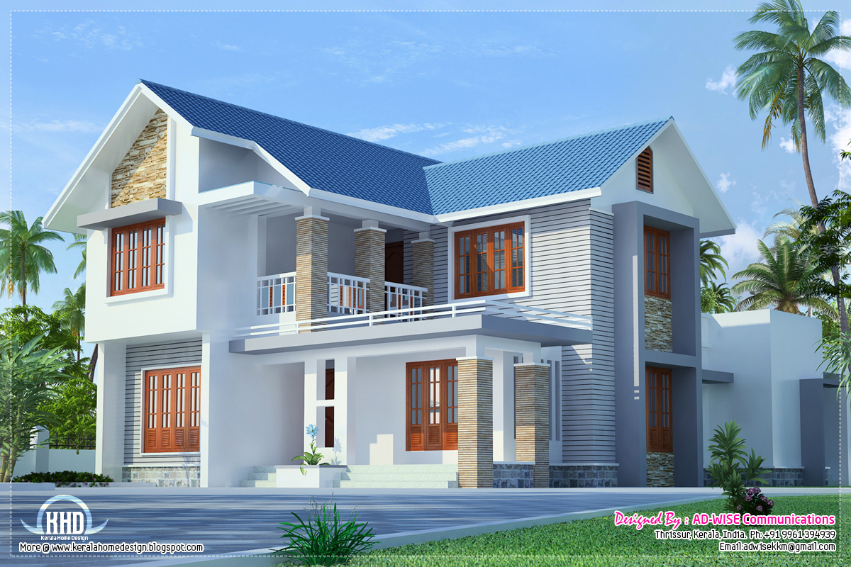 Three fantastic house exterior designs style house 3d models for Small two floor house