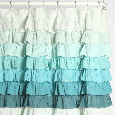 Tonal Wave Ruffle Shower Curtain Everything Turquoise