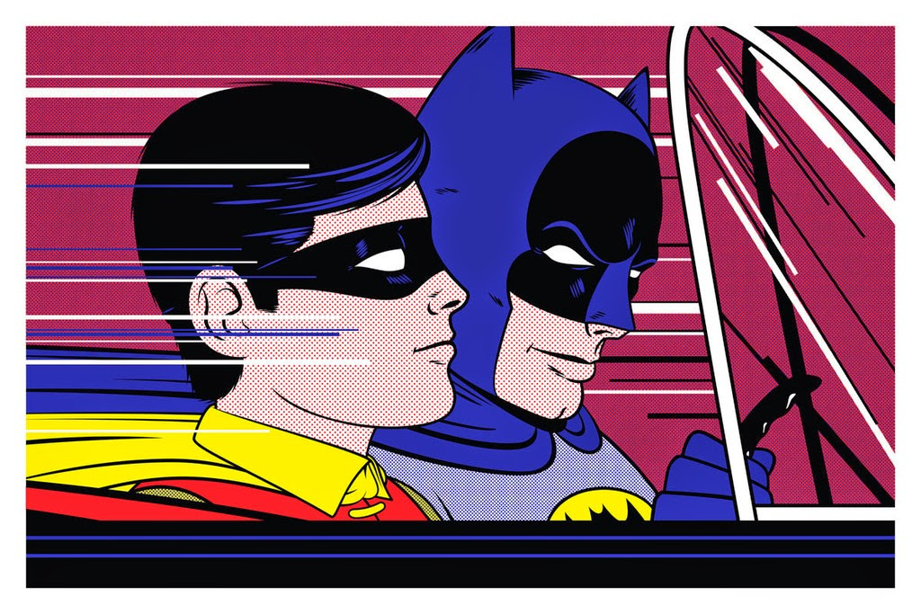 "Batman ""In The Batmobile"" Metallic Variant Screen Print by Bruce Yan"