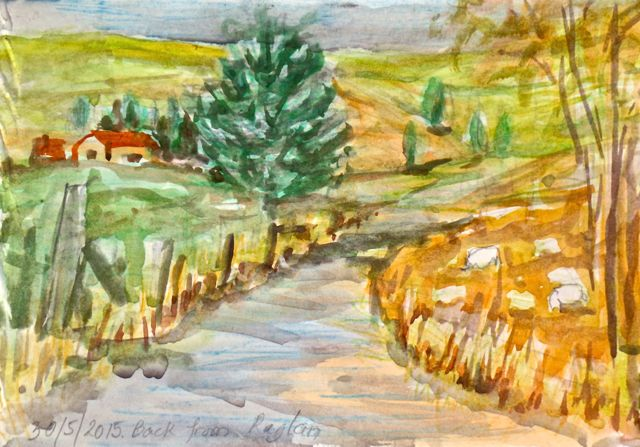 I found this little sketch in a pile of paper.  A little piece of paper brought back huge memories.  It was a rare chance that I traveled through country side on a rugged curly road.   The sketch was done during a stop over at the road side for a stretch.  Looking around I was surrounded with wonderful natural elements in deep autumn colours.There are so much inspirations.  Couldn't help but pulled out my watercolour pochade and made a note on this poor piece of paper..  I wished I could have had just painted it.  Only a short few minutes but I could understand why Paul Cezanne chose to live in Aix en Provence instead of Paris.  I wish the car could stopped every few minutes for me to record the scenes.  I love to be in a rugged country sides.  I also know there's possibilities that I could not resist the temptation to spend whole day picnicking and painting and I might not remember to go home!  I knew what happened to Cezanne when the place he grew up became part of him.  His art just made the link unbreakable and timeless.     Home is actually where the heart is.  I was very reluctant to get back in the car after having a moment to absorb and say good bye!