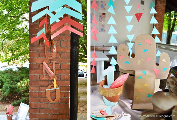 decorazioni faidate con cactus di cartone per festa bimbi