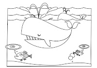 Whales swimming in a black and white coloring book by Robert Aaron Wiley for Microsoft Office Online