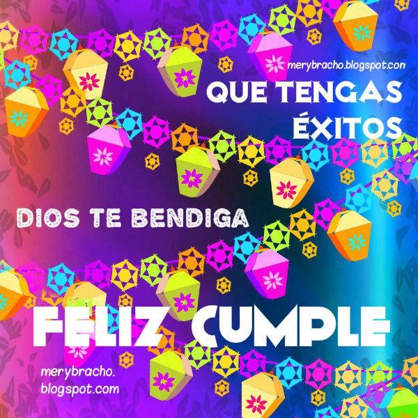 Tarjeta con mensaje cristiano de cumpleaños con imagen bonita feliz cumple, Dios bendiga.