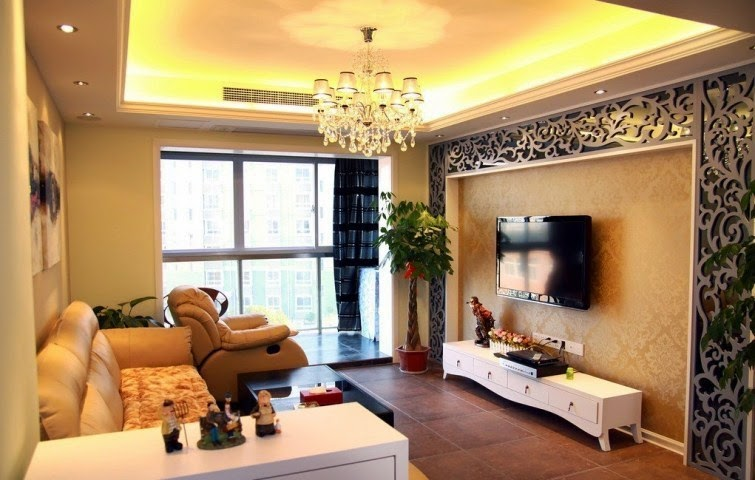 Wall paint ideas for living room for Wall designs for living room asian paints