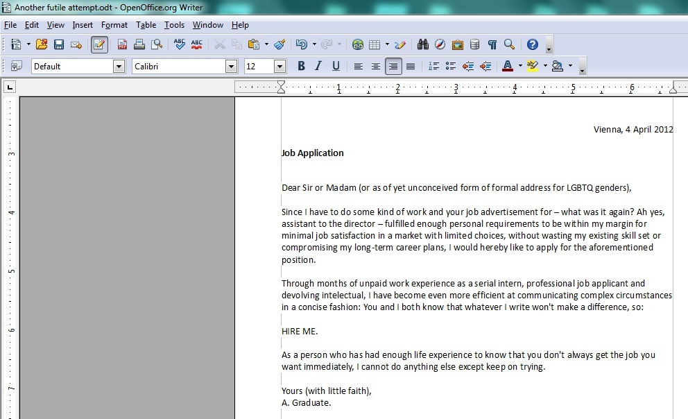 cover letter for humanitarian position