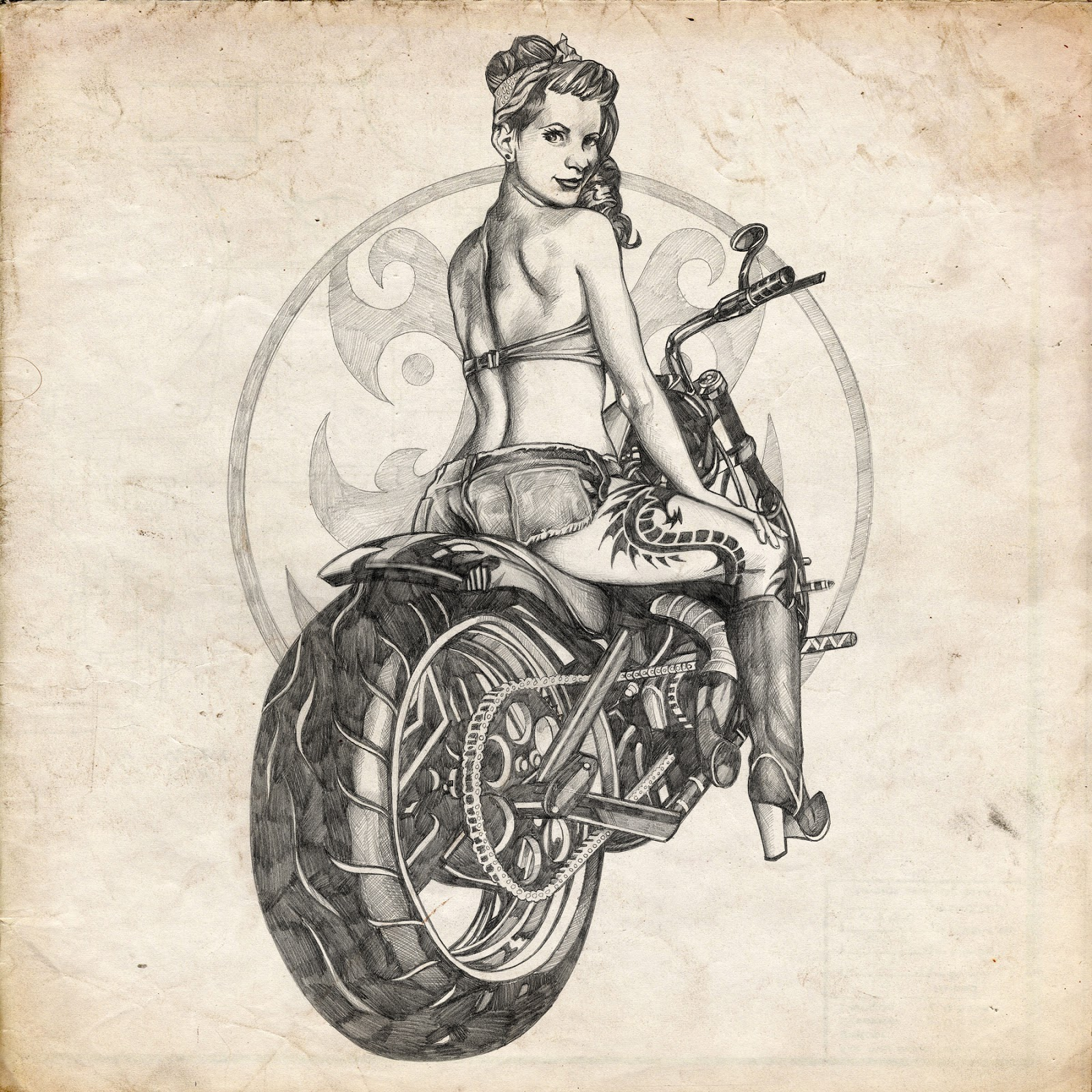 Social filter motorcycle sketch pinup for Biker chick tattoos