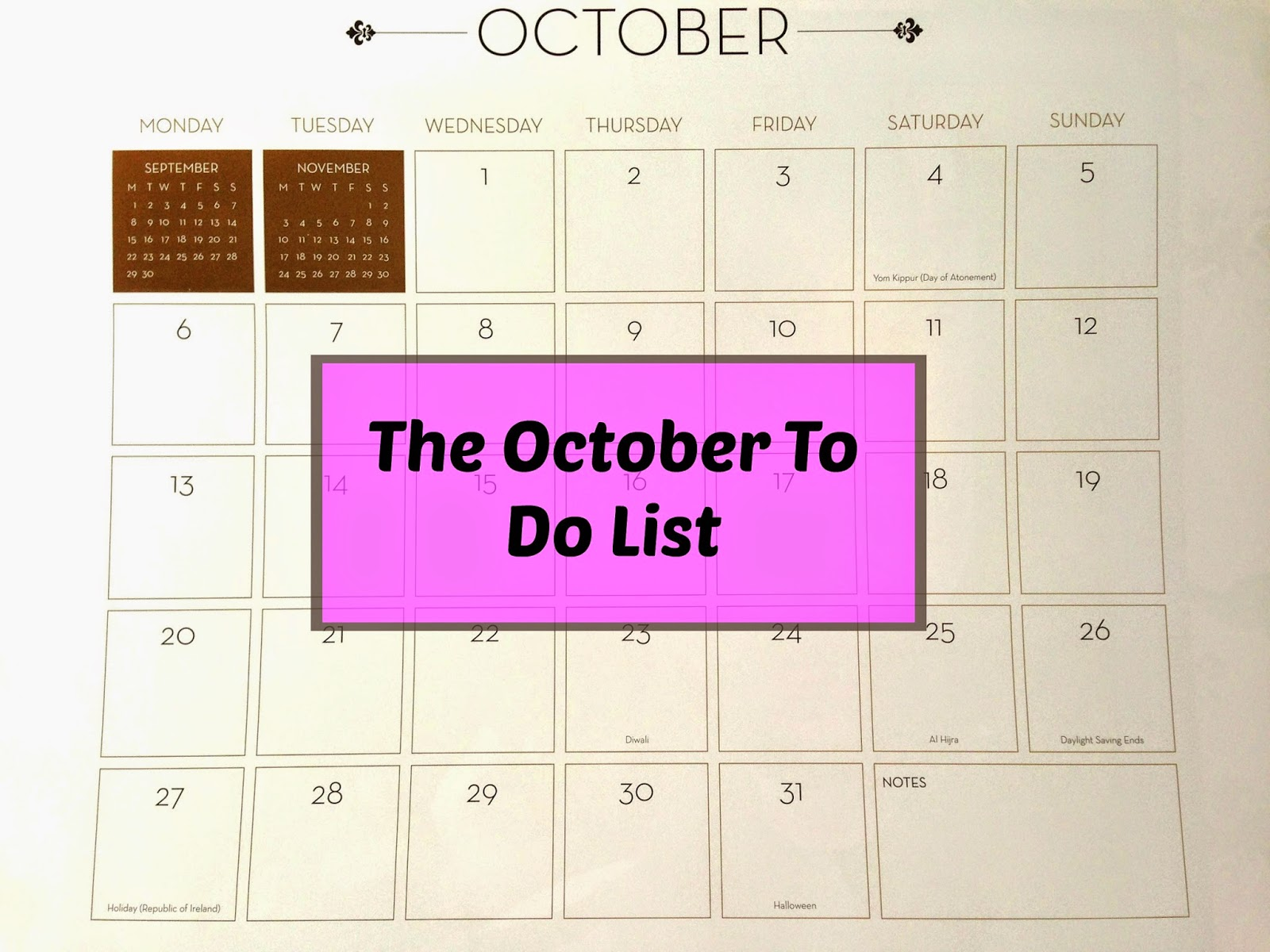 October To Do List