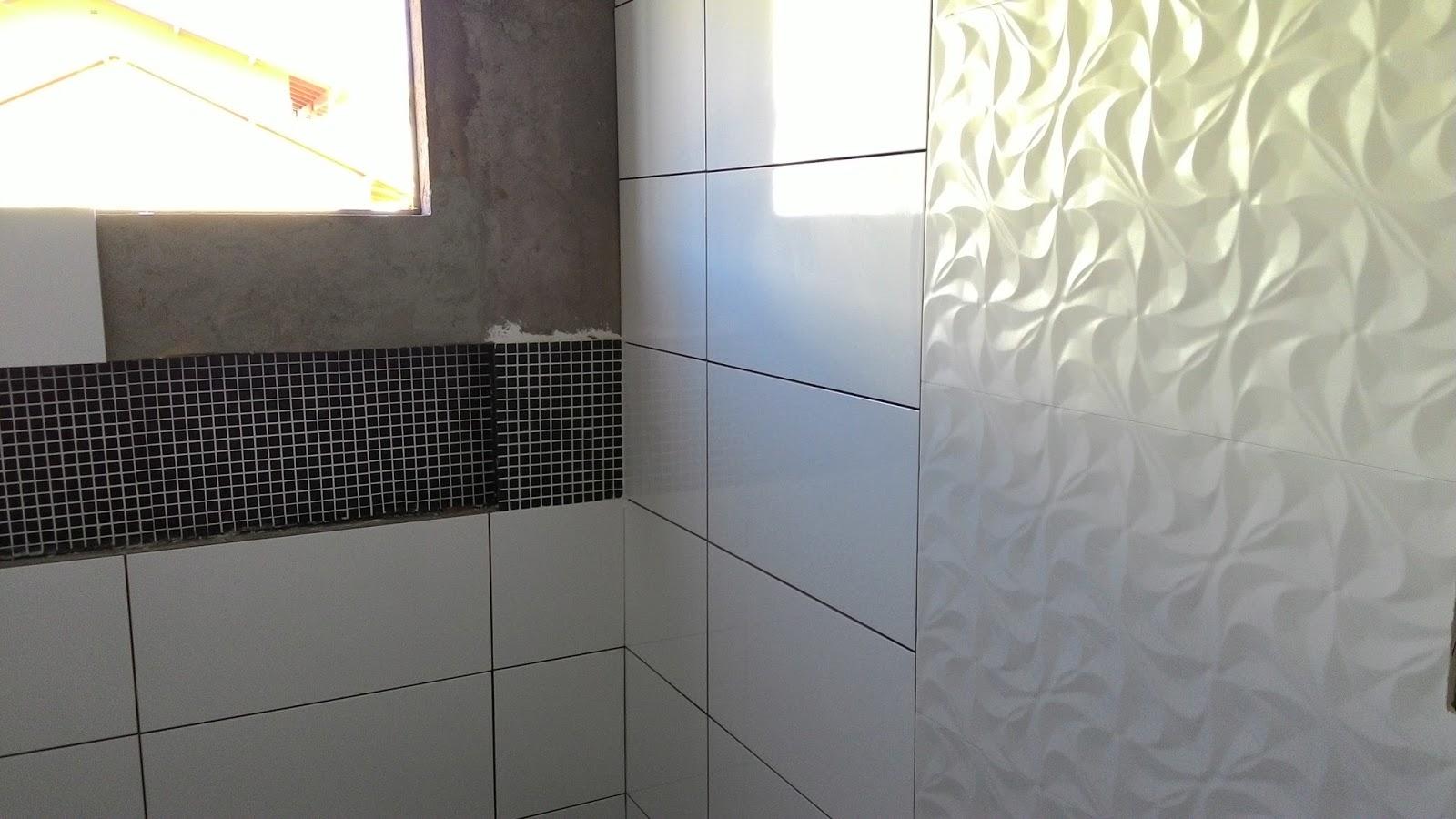 Sonhado: Atualização do banheiro (Pastilhas de vidro pigmentado #4B6380 1600x900 Banheiro Azulejo Pastilha