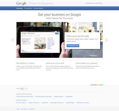 Google Places for Business Sign In Page