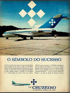 anúncio empresa aérea cruzeiro de 1970; história dos anos 70; Brazil in the 70s; reclame anos 70; Oswaldo Hernandez;