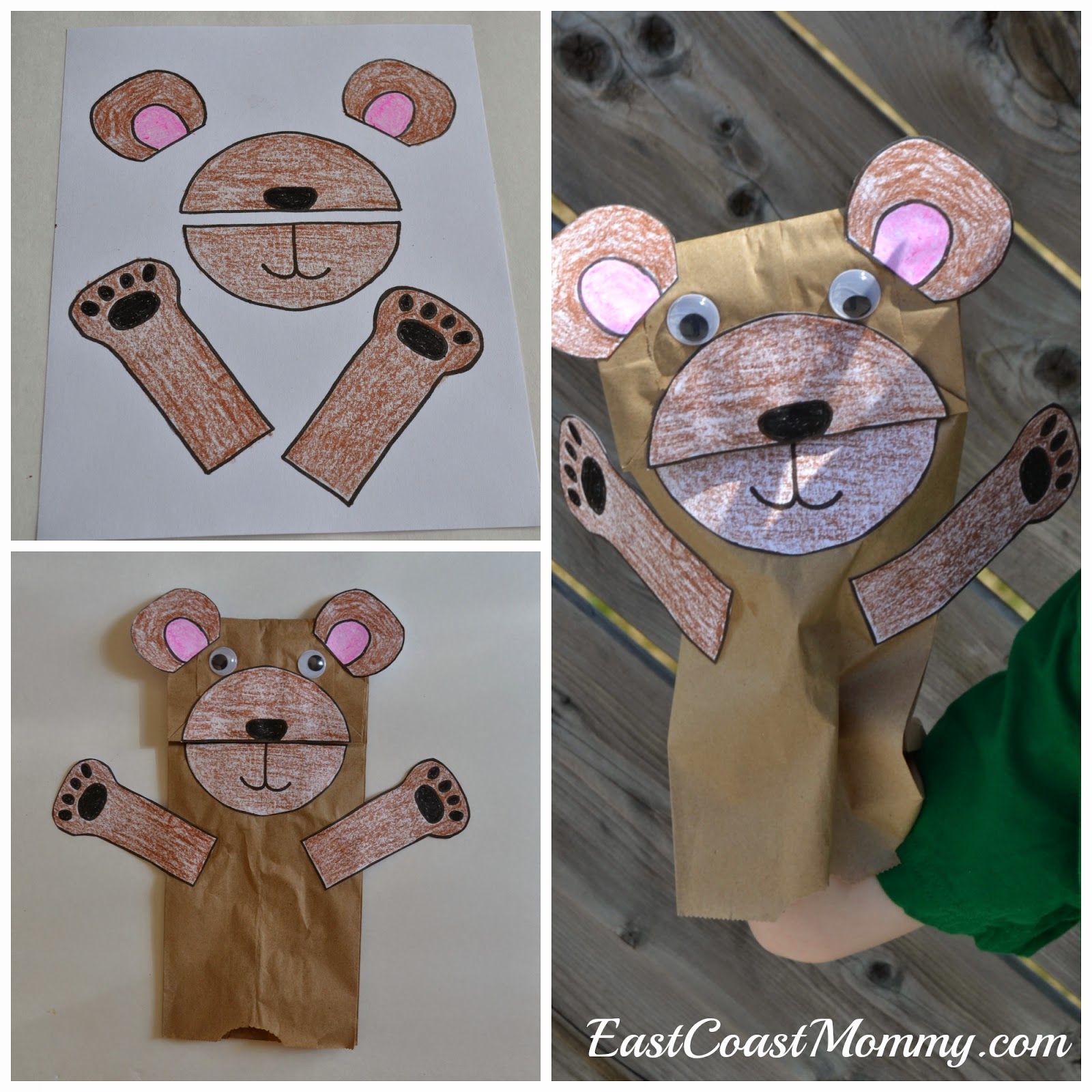East coast mommy number crafts number five teddy for Brown paper bag crafts for preschoolers