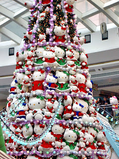 Hello Kitty Christmas tree made out of soft Hello Kitty plush toys