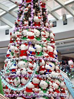 Hello Kitty Christmas tree made out of soft Hello Kitty plush toys