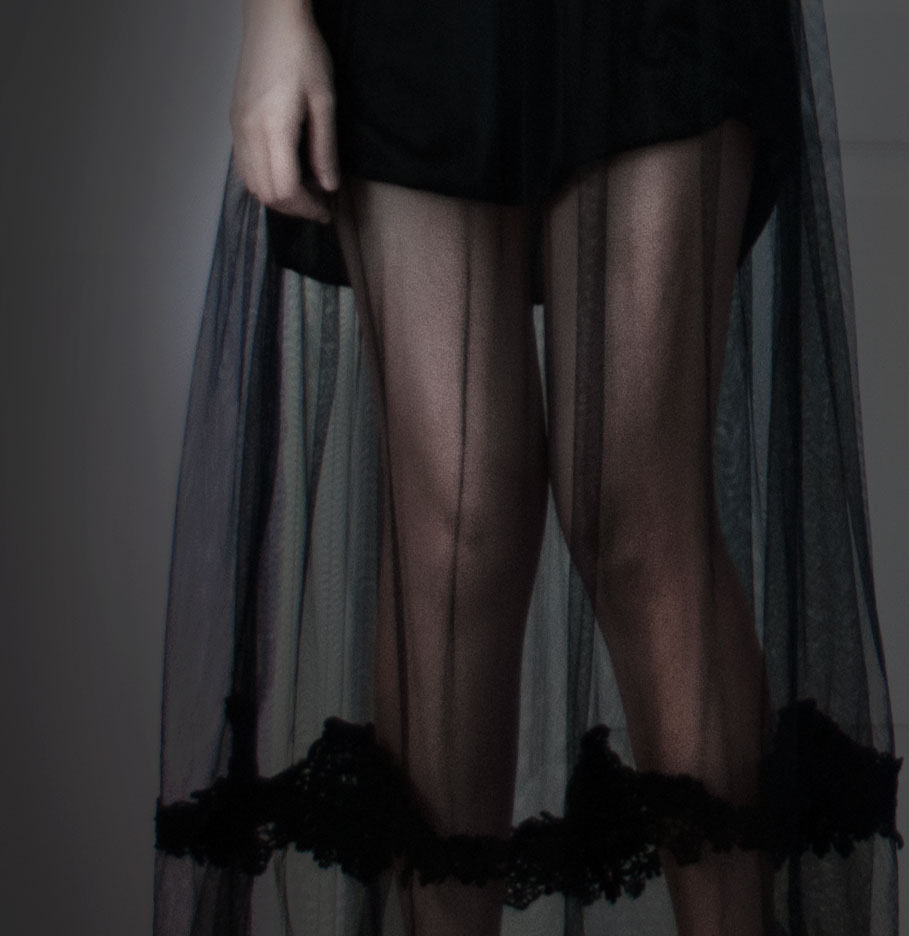 Dark Angel Halloween Look: close-up photo of sheer maxi dress hem and flowing black mesh/lace layers
