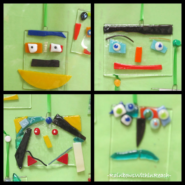 photo of: Glass Fused Self Portraits by Elementary Students