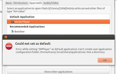 Error while setting new default application in Ubuntu 11.10
